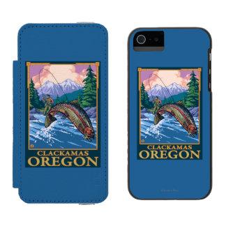 Fly Fishing Scene - Clackamas, Oregon Incipio Watson™ iPhone 5 Wallet Case