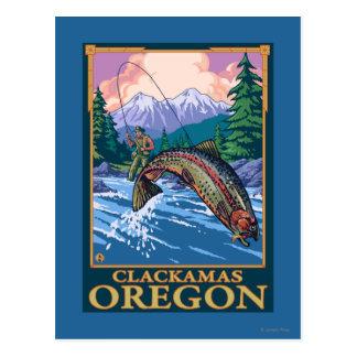 Fly Fishing Scene - Clackamas, Oregon Postcard