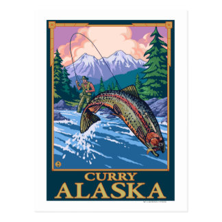 Fly Fishing Scene - Curry, Alaska Postcard