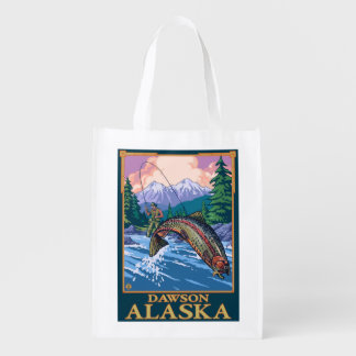 Fly Fishing Scene - Dawson, Alaska Reusable Grocery Bag