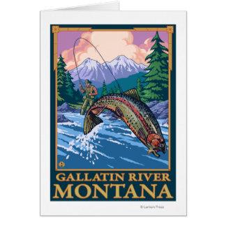 Fly Fishing Scene - Gallatin River, Montana Card