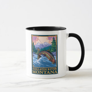 Fly Fishing Scene - Gallatin River, Montana Mug