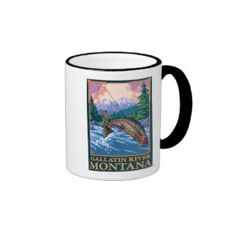 Fly Fishing Scene - Gallatin River, Montana Coffee Mug