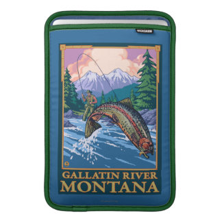 Fly Fishing Scene - Gallatin River, Montana Sleeve For MacBook Air