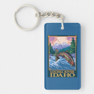 Fly Fishing Scene - Lochsa River, Idaho Double-Sided Rectangular Acrylic Key Ring