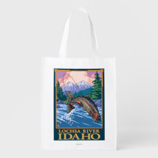 Fly Fishing Scene - Lochsa River, Idaho Reusable Grocery Bag