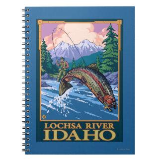 Fly Fishing Scene - Lochsa River, Idaho Spiral Notebook