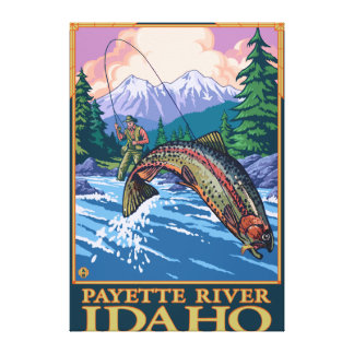 Fly Fishing Scene - Payette River, Idaho Canvas Print