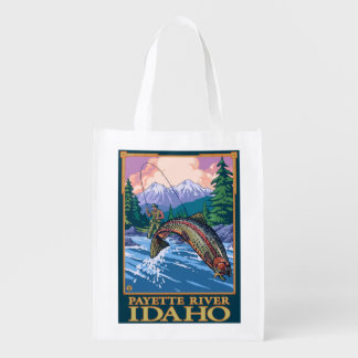 Fly Fishing Scene - Payette River, Idaho Reusable Grocery Bag