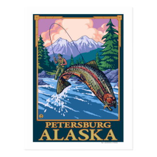 Fly Fishing Scene - Petersburg, Alaska Postcard