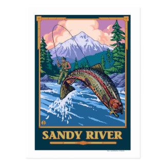 Fly Fishing Scene - Sandy River, Oregon Postcard