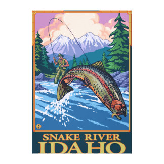 Fly Fishing Scene - Snake River, Idaho Canvas Print