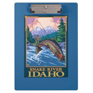 Fly Fishing Scene - Snake River, Idaho Clipboard