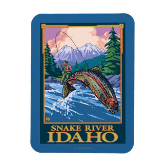 Fly Fishing Scene - Snake River, Idaho Rectangular Photo Magnet