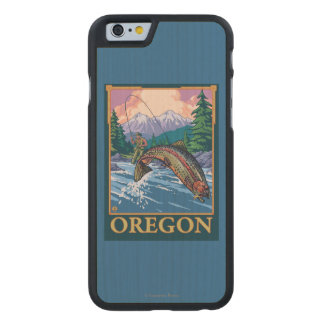 Fly Fishing Scene- Vintage Travel Poster Carved® Maple iPhone 6 Case