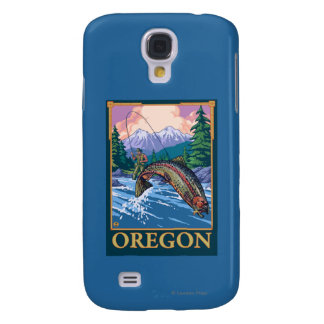 Fly Fishing Scene- Vintage Travel Poster Samsung Galaxy S4 Cover