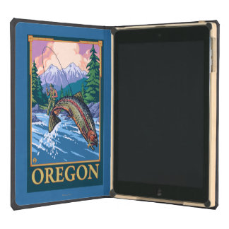 Fly Fishing Scene- Vintage Travel Poster iPad Air Cover
