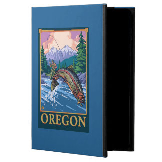 Fly Fishing Scene- Vintage Travel Poster Cover For iPad Air