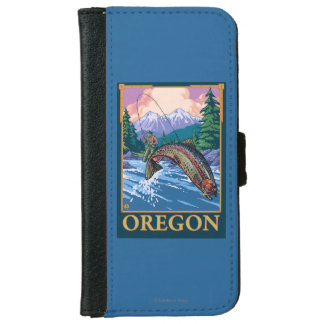 Fly Fishing Scene- Vintage Travel Poster iPhone 6 Wallet Case