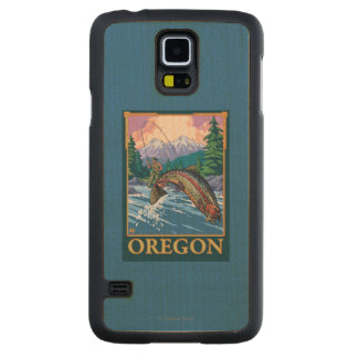 Fly Fishing Scene- Vintage Travel Poster Maple Galaxy S5 Case