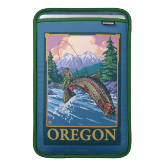 Fly Fishing Scene- Vintage Travel Poster Sleeve For MacBook Air