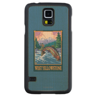 Fly Fishing Scene - West Yellowstone Maple Galaxy S5 Slim Case