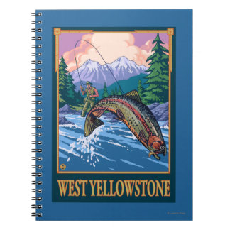 Fly Fishing Scene - West Yellowstone Spiral Note Books