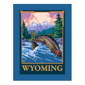 Fly Fishing Scene - Wyoming Postcard
