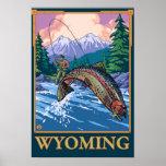 Fly Fishing Scene - Wyoming Poster