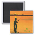 Fly Fishing Square Magnet