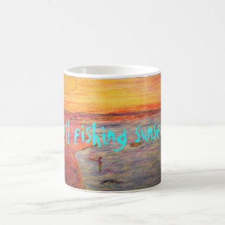 fly fishing sunset Art Basic White Mug