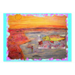 fly fishing sunset art business cards