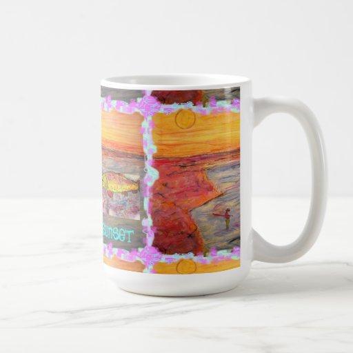 fly fishing sunset Art Coffee Mugs