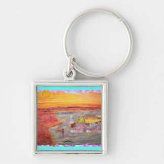 fly fishing sunset art Silver-Colored square key ring