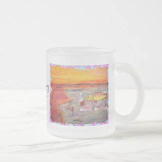 fly fishing sunset frosted glass mug