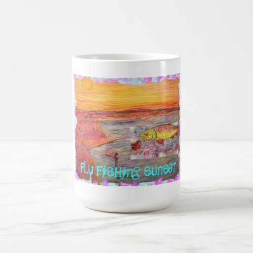 fly fishing sunset coffee mugs
