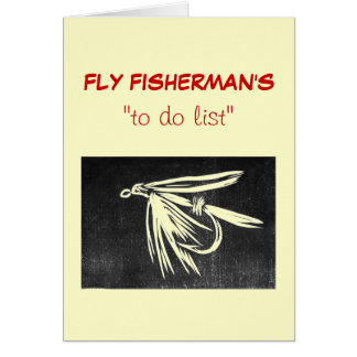"""Fly Fishing """"to do"""" list card """"wet fly black"""""""
