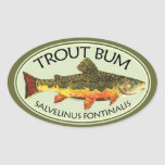 Fly Fishing Trout Bum Oval Sticker
