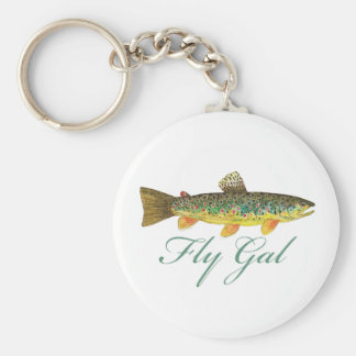 Fly Fishing Woman Basic Round Button Key Ring