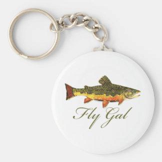 Fly Fishing Women Basic Round Button Key Ring