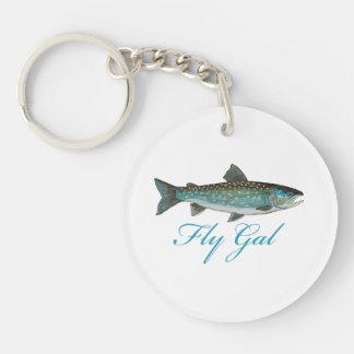 Fly Fishing Women Single-Sided Round Acrylic Key Ring