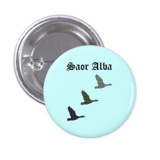 Fly Free Tartan Ducks Saor Alba Scotland Pinback Button
