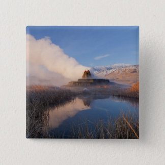 Fly Geyser with snow capped Granite Range 4 15 Cm Square Badge