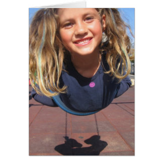 Fly Girl on Swing Greeting Cards