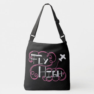 Fly High Pink White Cross Body Tote Bag