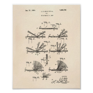 Fly Hook 1924 Patent Art Old Peper Poster
