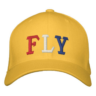 FLY IN RED WHITE AND BLUE EMBROIDERED BASEBALL CAPS