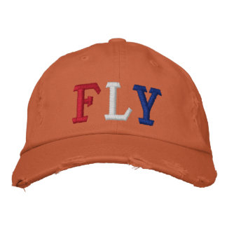 FLY IN RED WHITE AND BLUE EMBROIDERED HATS