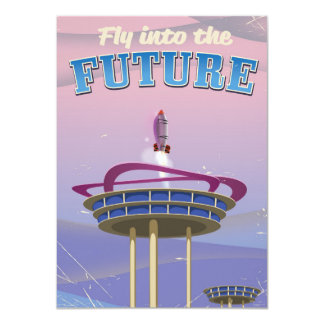 Fly into the Future vintage sci-fi Rocket poster Card