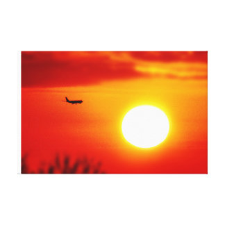 Fly into the sunset - Beautiful sunset picture Gallery Wrapped Canvas
